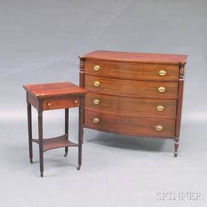 Late Federalstyle Mahogany Side Table and Bowfront Bureau