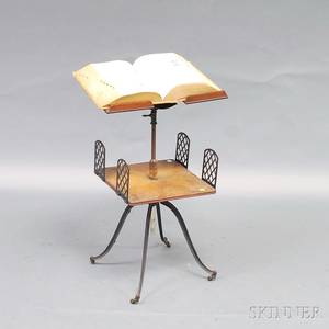 Oak and Cast Iron Dictionary Stand