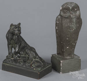 Pompeian Bronze Co patinated tiger bookend