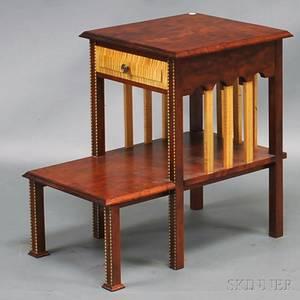 Custom Mahogany and Tiger Maple Side Table