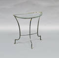 Small Greenpainted Iron Demilune Garden Table