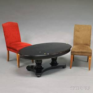 Classicalstyle Mahogany Coffee Table and Two Upholstered Side Chairs