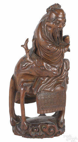 Chinese carved bamboo figure of Shou Loa 18th c