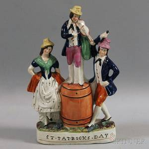 Staffordshire Pottery Group of Three Figures Celebrating St Patricks Day