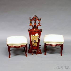 Two French Provincial Upholstered Stools and an Victorian Ebonized and Mahogany Boot Jack