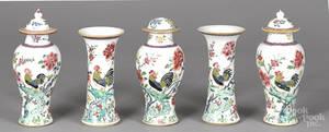 Chinese Qianlong period fivepiece famille rose garniture