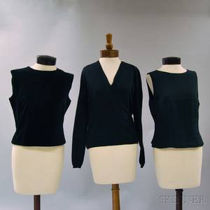 Two Giorgio Armani Black Silk Tops