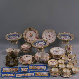 Fortyfour Pieces of Continental Handpainted Porcelain