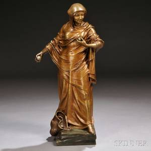 After Charles Theodore Perron French 18621934 Bronze Figure of a Robed Woman with Spheres