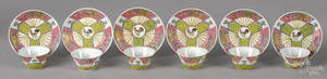 Chinese Yongzheng period set of six famille rose cups and saucers