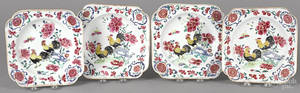 Chinese Qianlong period set of four famille rose rooster plates