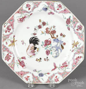 Chinese Qianlong period famille rose octagonal plate