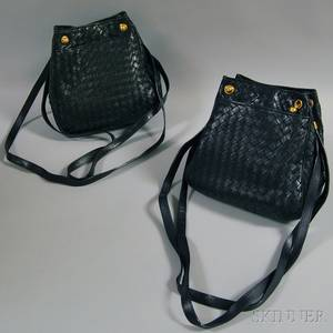 Two Bottega Veneta Woven Leather Shoulder Bags