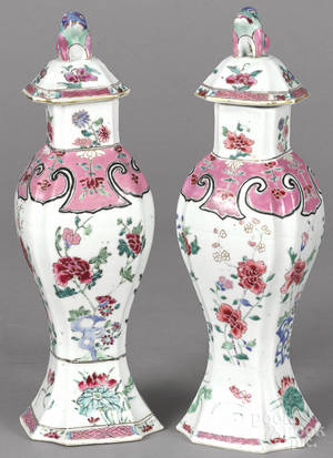 Chinese Qianlong period pair of famille rose covered garniture vases