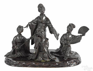 Japanese Meiji period bronze group of four female musicians
