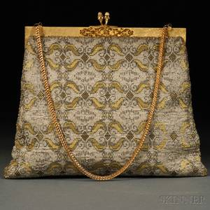 Gold and Silver Metallic Handbag on Goldtone Hardware