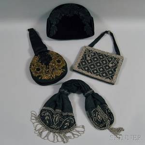 Four Beaded and Embroidered Silk Satin and Velvet Evening Bags