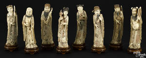 Rare set of eight Asian carved and polychrome decorated ivory figures ca 1900