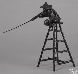 Japanese Meiji period bronze figure of a man atop a ladder with a pointer