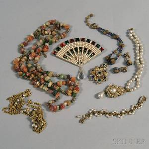 Small Group of Miriam Haskell and Valentino Costume Jewelry