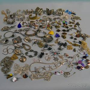 Large Group of Mostly Brass Copper and Silver Jewelry