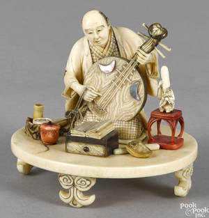 Japanese Meiji period carved ivory musician