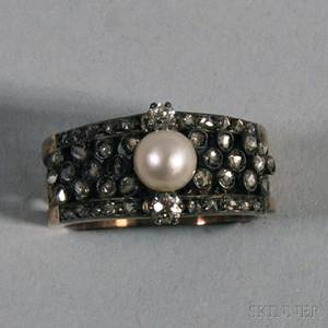 Antique 14kt Rose Gold Diamond and Pearl Ring