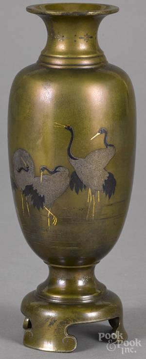 Japanese Meiji period inlaid bronze vase