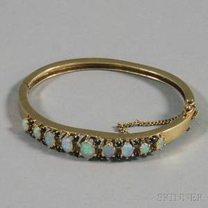 14kt Gold Opal and Sapphire Hinged Bangle Bracelet