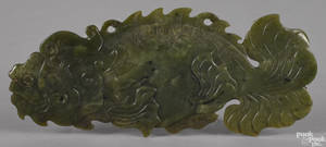 Chinese carved spinach jade fish pendant