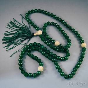 Colorenhanced Long Jade and Ivory Bead Necklace