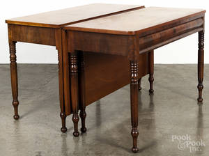 Pair of Sheraton cherry and mahogany drop leaf pier tables