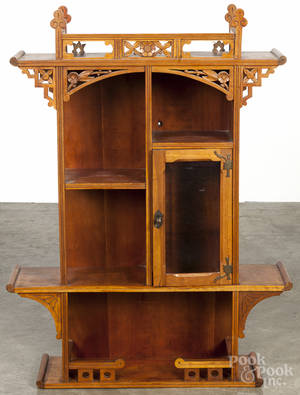 Aesthetic movement cherry hanging cabinet