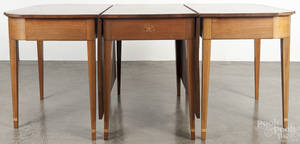 Federal style inlaid walnut threepart dining table with eagle inlay