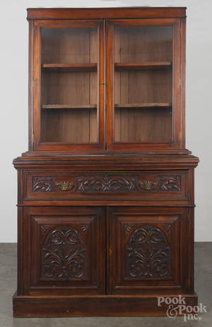 Victorian walnut secretary desk