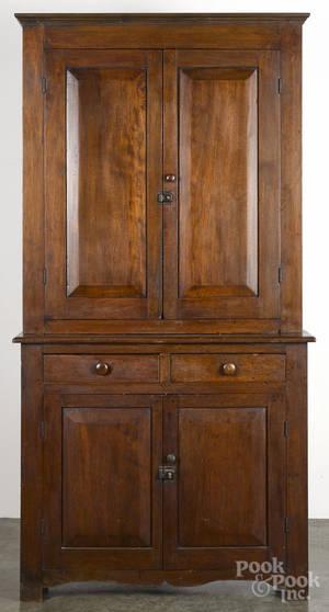 Pennsylvania walnut twopart step back cupboard