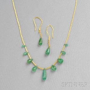 Highkarat Gold and Emerald Bead Necklace and Earpendants