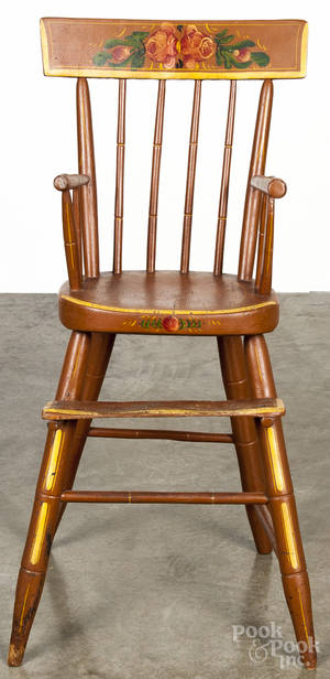 Pennsylvania painted plank seat high chair