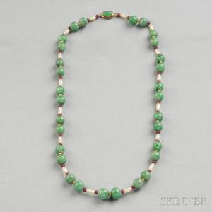 Jade Ruby and Freshwater Pearl Bead Necklace