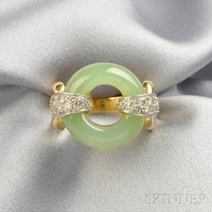 18kt Gold Hardstone and Diamond Ring