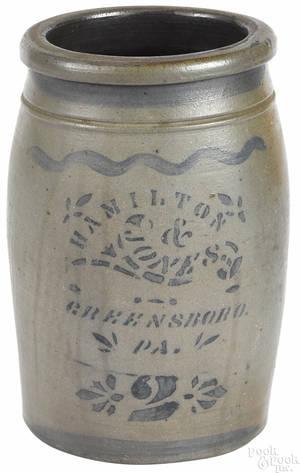 Pennsylvania twogallon stoneware crock 19th c