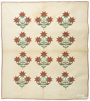 Appliqu Carolina lily quilt late 19th c