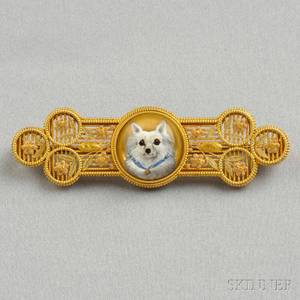 Antique 14kt Bicolor Gold and Reversepainted Crystal Brooch Tiffany  Co