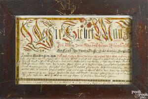 Southeastern Pennsylvania ink and watercolor fraktur vorschrift ca 1800