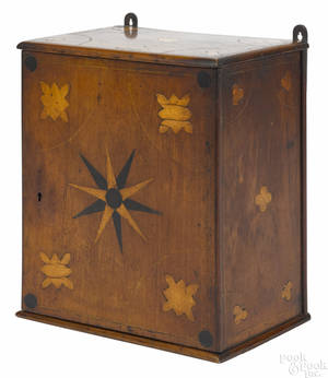 Inlaid walnut hanging cabinet early 19th c