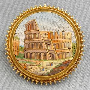 Antique Gold and Micromosaic Brooch