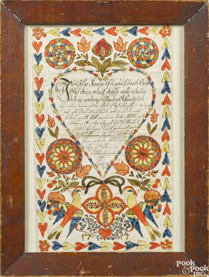 Ink and watercolor fraktur dated