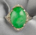 Art Deco Platinum Jadeite and Diamond Ring