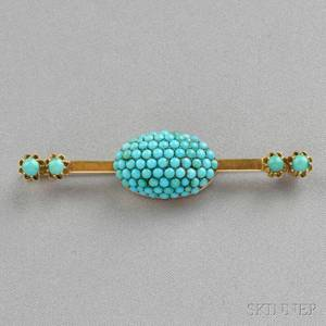 Antique 14kt Gold and Turquoise Brooch