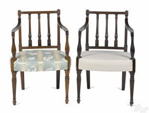 Pair of Philadelphia Sheraton carved mahogany armchairs ca 1810
